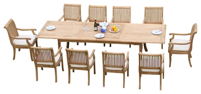 "Craftsman 7 Piece Rectangle Extension Dining Sets With Arm & Side Chairs Throughout Most Current 11 Piece Outdoor Teak Dining Set, 117"" Rectangle Table, 10 Giva Arm (View 4 of 20)"