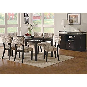Craftsman 7 Piece Rectangle Extension Dining Sets With Uph Side Chairs With Regard To Most Up To Date Amazon – Coaster Furniture Libby Collection Cappuccino 7 Piece (View 5 of 20)