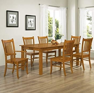 Craftsman 7 Piece Rectangular Extension Dining Sets With Arm & Uph Side Chairs Intended For Most Up To Date Amazon – Coaster Home Furnishings 7 Piece Mission Style Solid (View 2 of 20)