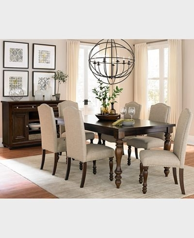 Craftsman 7 Piece Rectangular Extension Dining Sets With Arm & Uph Side Chairs Pertaining To Favorite Closeout! Kelso 7 Pc (View 3 of 20)