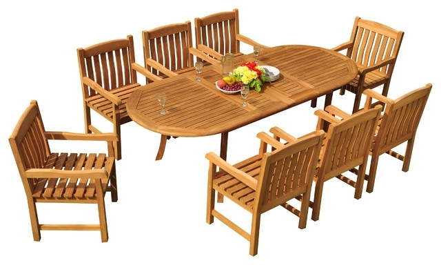 """Craftsman 9 Piece Extension Dining Sets Throughout Well Liked 9 Piece Outdoor Teak Dining Set, 94"""" Extension Oval Table, 8 Devon (View 4 of 20)"""