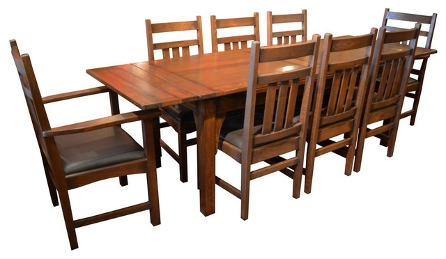 Craftsman 9 Piece Extension Dining Sets With Preferred Arts And Crafts Oak Dining Table With 2 Leaves And 8 Dining Chairs (View 5 of 20)