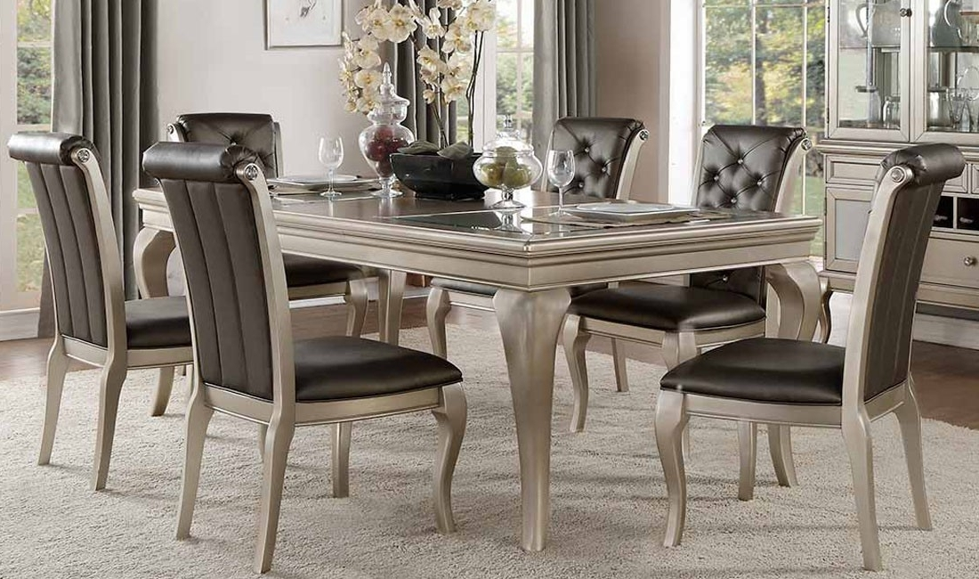 Crawford Rectangle Dining Tables For 2017 Crawford Silver Dining Room 5Pc Set For $ (View 11 of 20)