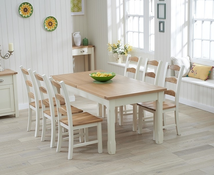 Cream And Oak Dining Tables Pertaining To Current Sandringham 180Cm Oak & Cream Extending Dining Table – Swagger Inc (View 6 of 20)