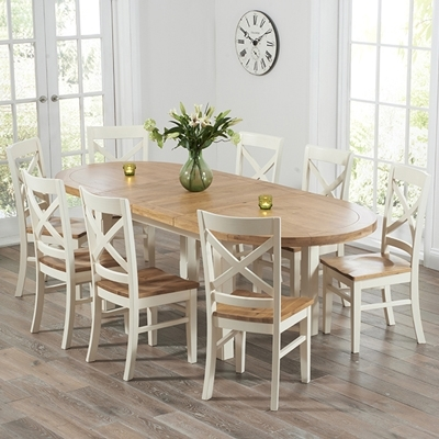 Cream And Wood Dining Tables For Current Chevron Oak And Cream Oval Extending Dining Table With 8 Carver Chairs (View 2 of 20)