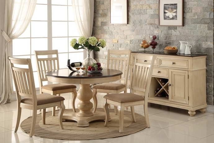 Cream And Wood Dining Tables In 2017 F2341 1447 5 Pc Harrison Collection Two Tone Finish Cream Wood Round (View 15 of 20)