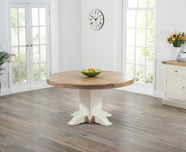 Cream And Wood Dining Tables Inside Best And Newest Buy Mark Harris Turin Oak And Cream Dining Table – 150Cm Round (View 17 of 20)