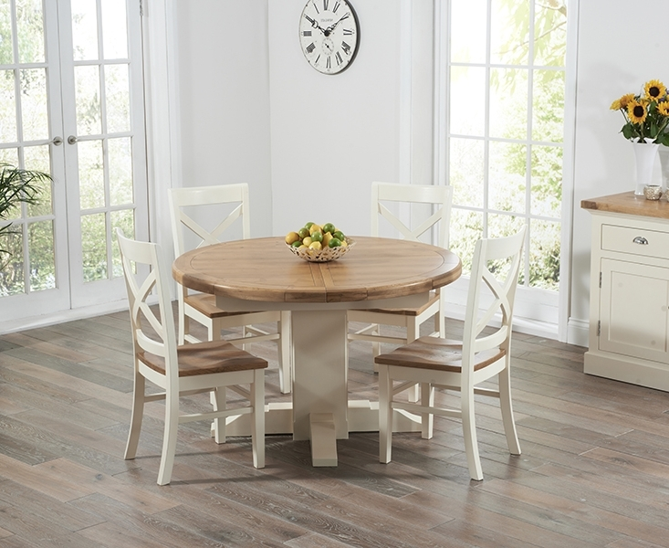Cream And Wood Dining Tables Inside Best And Newest Torino Oak & Cream Extending Pedestal Dining Table With Cavendish Chairs (View 5 of 20)
