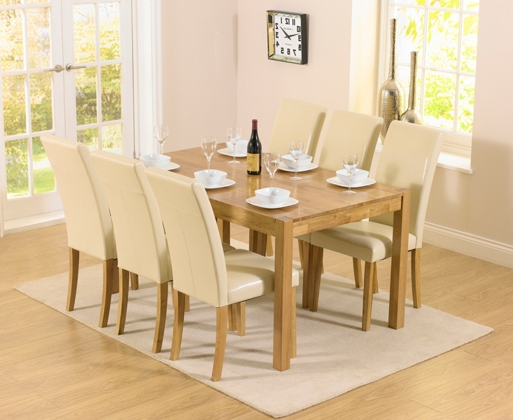 Cream Dining Tables And Chairs For Well Known Oxford 150Cm Solid Oak Dining Set With Albany Cream Chairs (View 4 of 20)