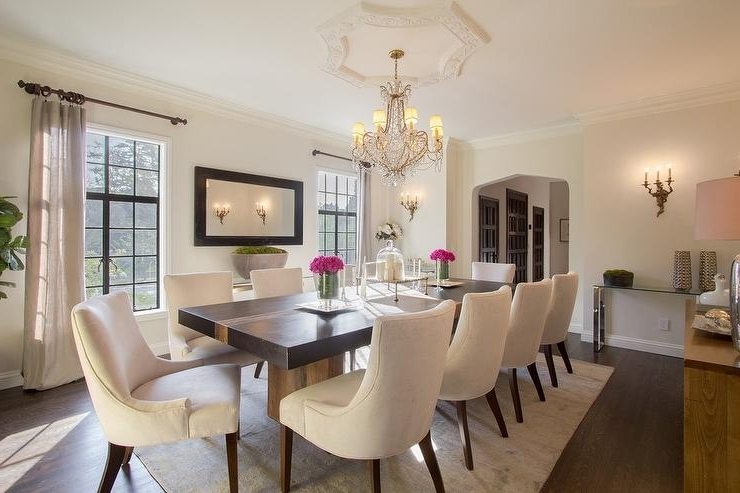 Cream Dining Tables And Chairs In Trendy Black Dining Table With Cream Upholstered Dining Chairs (View 5 of 20)