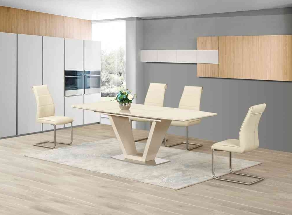 Cream Dining Tables And Chairs Pertaining To Well Liked Extending Cream Glass High Gloss Dining Table And 8 Cream Chairs (View 7 of 20)