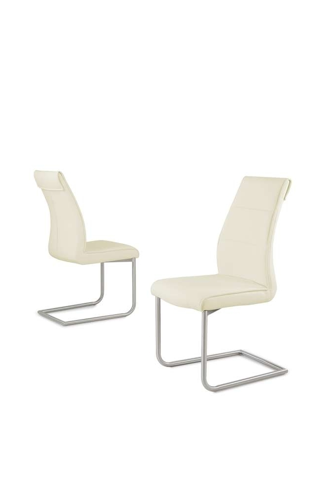 Cream Faux Leather Dining Chairs With Famous Cream Faux Leather Dining Chairs With Chrome Legs – Homegenies (View 10 of 20)