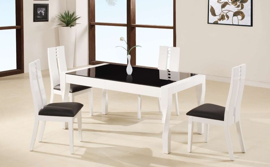 Cream Lacquer Dining Tables With Current White Lacquer Teak Wood Dining Table Using Black Glass Top Placed On (View 9 of 20)