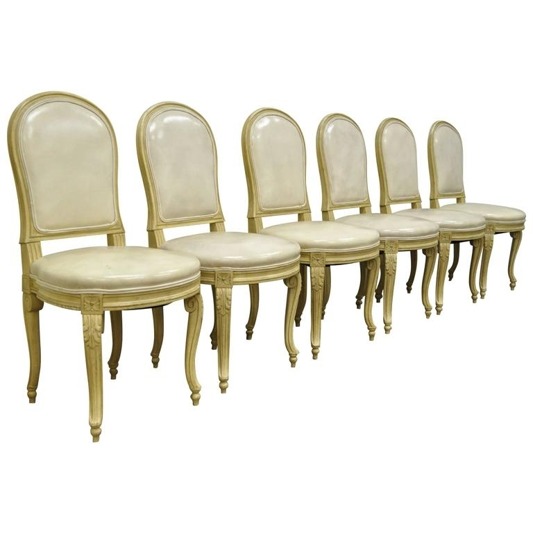Cream Leather Dining Chairs Inside 2017 Set Of 6 French Louis Xv Style Carved And Painted Cream Leather (View 2 of 20)