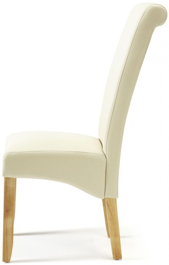 Cream Leather Dining Chairs Regarding Popular Buy Serene Kingston Cream Faux Leather Dining Chair With Oak Legs (View 4 of 20)