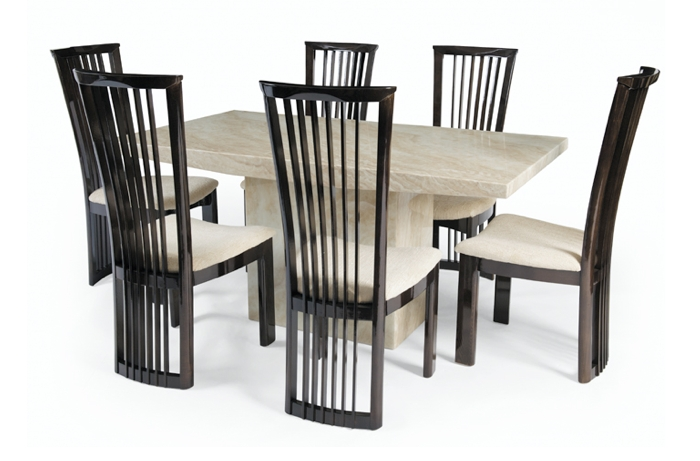 Cream Marble Dining Table Set – Allied Home Interiors With Regard To Most Current Marble Effect Dining Tables And Chairs (View 4 of 20)