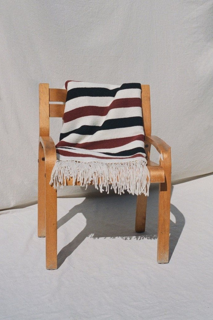 Cream, Rust & Black Striped Pampa Blanketmexchic (View 1 of 20)