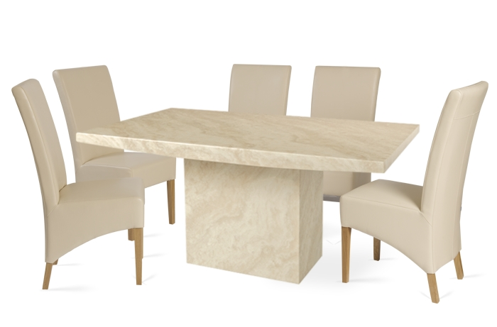 Crema 180Cm Marble Effect Dining Table With 6 Cannes Cream Chairs Regarding Well Known Marble Effect Dining Tables And Chairs (View 3 of 20)