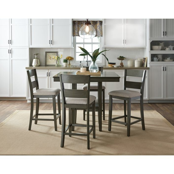 Croley 5 Piece Dining Set For Most Recent Jameson Grey 5 Piece Counter Sets (View 4 of 20)