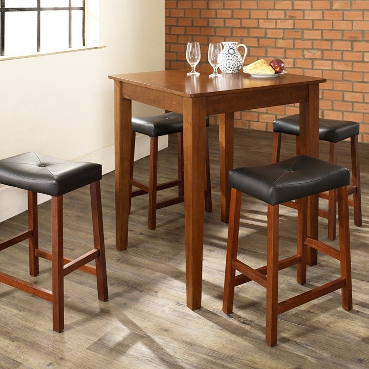 Crosley 5 Piece Pub Dining Set With Tapered Leg And Upholstered Throughout Widely Used Market 5 Piece Counter Sets (View 16 of 20)