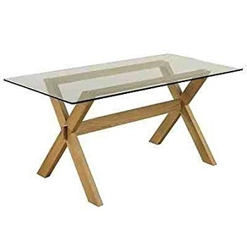 Crossed Leg / Frame 5Ft Solid Oak Dining Table With Glass Top For Preferred Glass Top Oak Dining Tables (View 5 of 20)