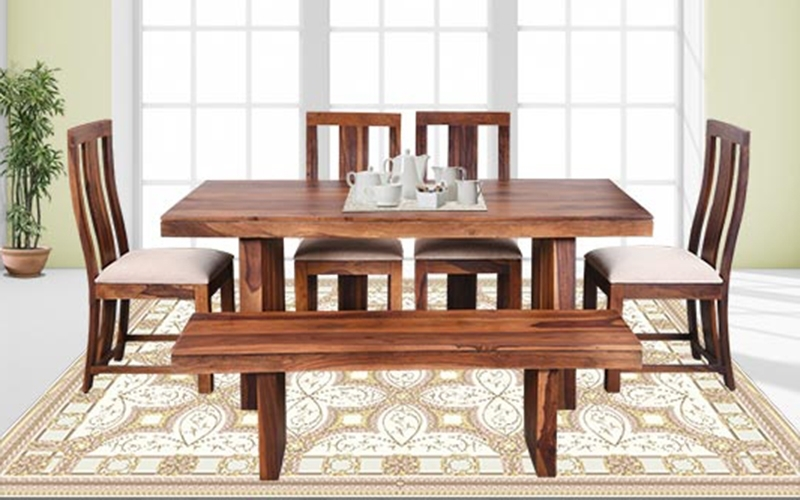 Crystal Dining Tables In Well Known Buy Royaloak Crystal 6 Seater Sheesham Wood Dining Set With Bench (View 6 of 20)