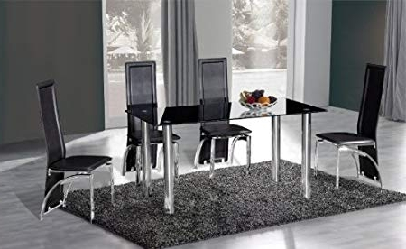 Crystal Dining Tables Within Fashionable Crystal Dining Table + 4 Miller Design Chairs Black: Amazon.co (View 9 of 20)