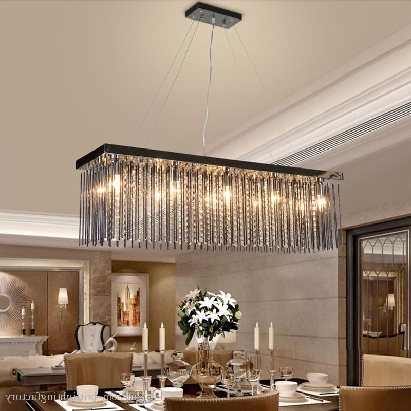 Crystal Lamp Rectangular Dining Room Pendant Lights Hotel Dining In Latest Dining Tables Ceiling Lights (View 6 of 20)