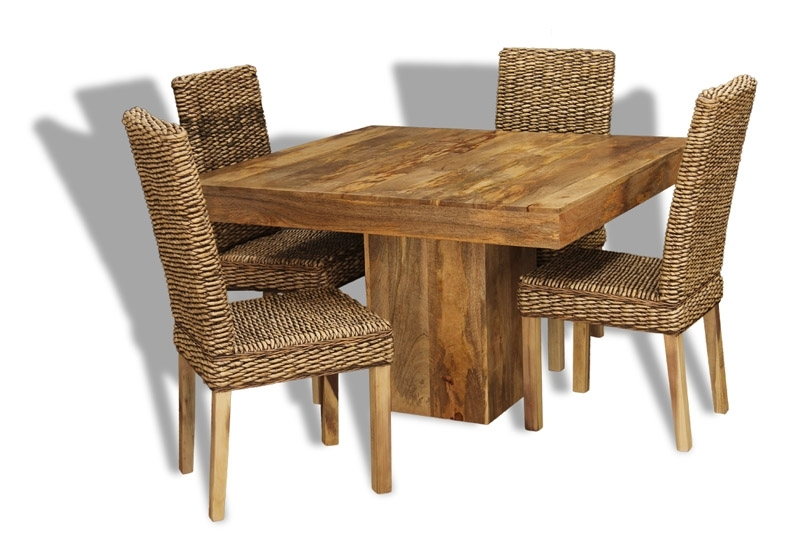 Cube Dining Tables In Well Known Mango 120Cm Cube Dining Table & 4 Rattan Chairs (View 4 of 20)