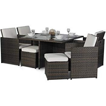 Cube Dining Tables Throughout Fashionable Giardino Rattan Medium Glass Dining Table Cube Set With 4 Highback (View 5 of 20)