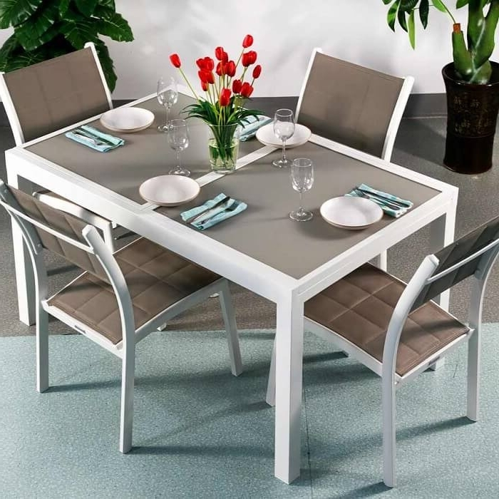 Current 4 Seater Extendable Dining Tables Pertaining To Dining Table Set Daisy White & Champagne – 6 Person Aluminium (View 8 of 20)