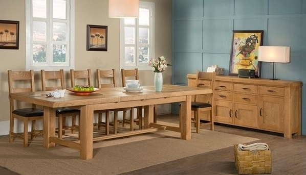 Current 8 Seater Oak Dining Tables Inside Kendal Oak 220cm 320cm 8 Seater Dining Table (View 6 of 20)