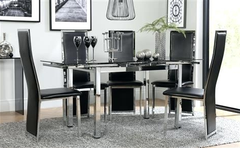 Current Black Dining Room Furniture Space Chrome Black Glass Extending With Black Extendable Dining Tables And Chairs (View 14 of 20)