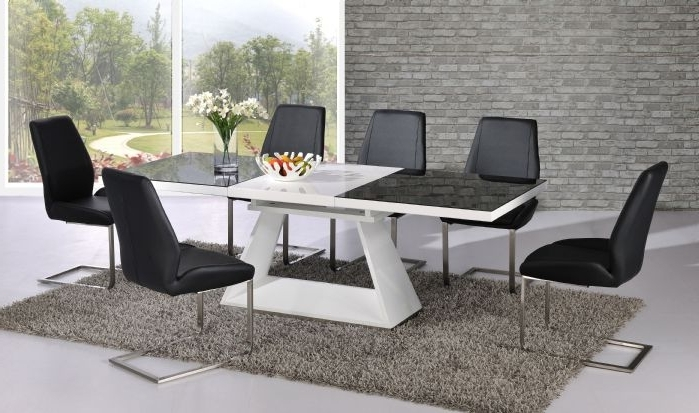Current Black High Gloss Dining Tables And Chairs Pertaining To Silvano Extending Black White High Gloss Contemporary Dining Table (View 7 of 20)