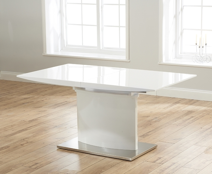 Current Buy Mark Harris Hayden White High Gloss Dining Table – 160Cm Inside White Gloss Extendable Dining Tables (View 3 of 20)