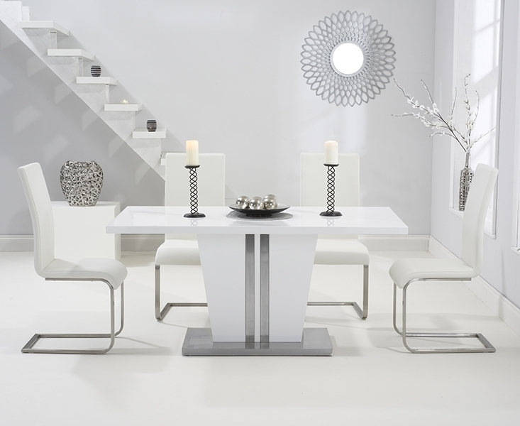 Current Buy Mark Harris Vigo White High Gloss Dining Set – 160Cm Rectangular For White High Gloss Dining Tables And 4 Chairs (View 6 of 20)