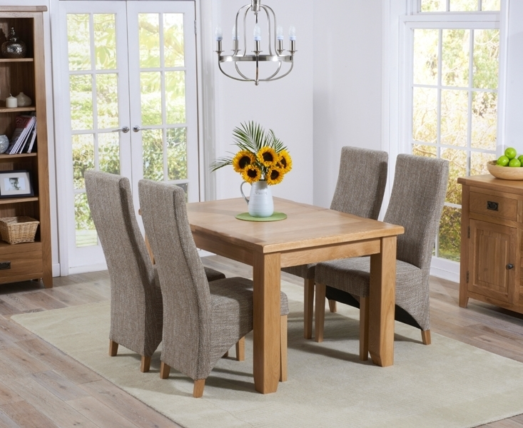 Current Buy Mark Harris York Solid Oak Dining Set – 130Cm Extending With 4 Regarding Oak Dining Tables And Fabric Chairs (View 5 of 20)