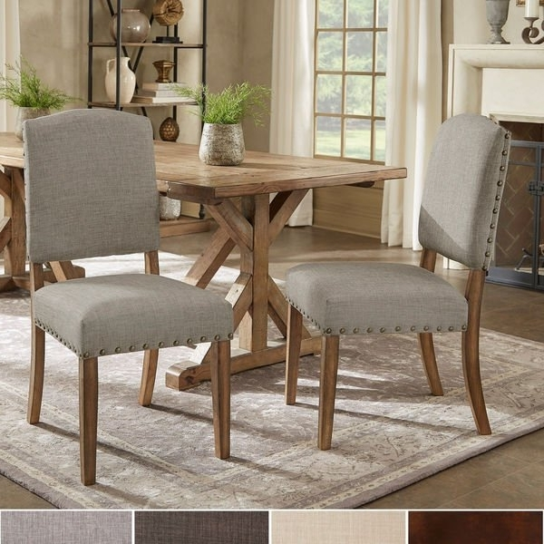Current Candice Ii 5 Piece Round Dining Sets Within Shop Benchwright Premium Nailhead Upholstered Dining Chairs (Set Of (View 10 of 20)