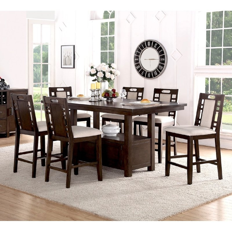 Current Candice Ii 7 Piece Extension Rectangular Dining Sets With Uph Side Chairs Throughout Winston Porter Nika 7 Piece Counter Height Dining Set & Reviews (View 8 of 20)