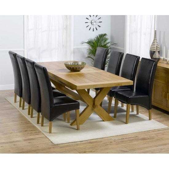 Current Carlotta Extending Solid Oak Dining Table And 8 Leather Within Oak Dining Tables 8 Chairs (View 3 of 20)