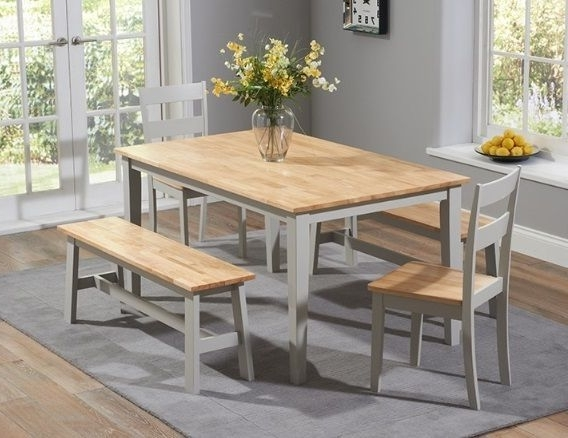 Current Chichester 150Cm Oak & Grey Dining Table 4 Chairs 1 Large Bench In Chichester Dining Tables (View 8 of 20)