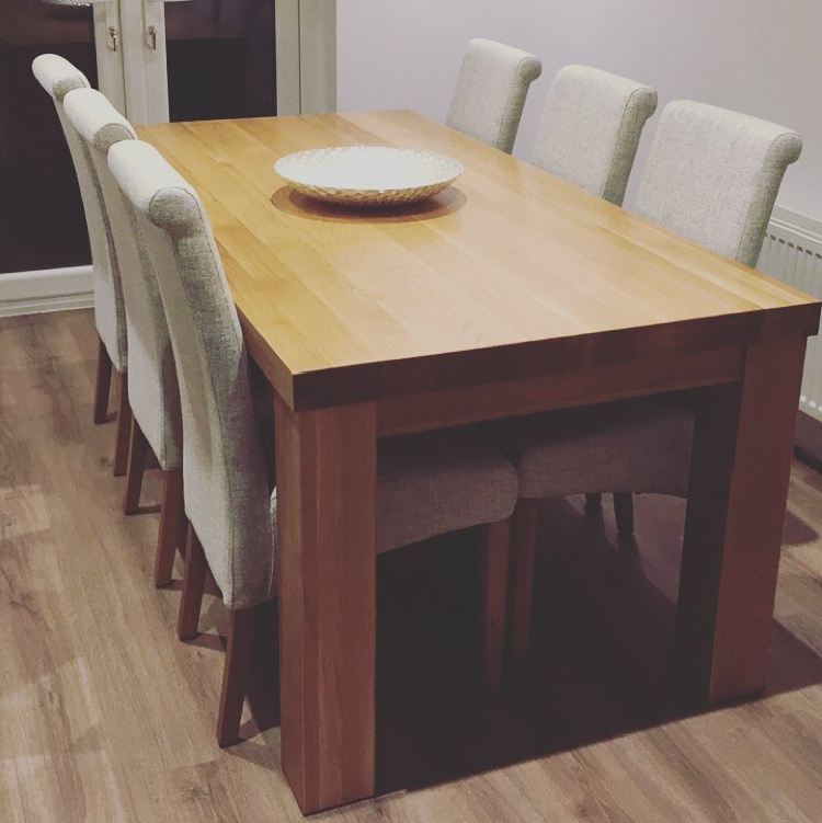 """Current Contemporary Chunky 5Ft X 2Ft 6"""" Natural Solid Oak Dining Table From Inside Chunky Solid Oak Dining Tables And 6 Chairs (View 3 of 20)"""