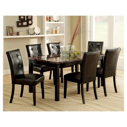 Current Costway 5 Piece Faux Marble Dining Set Table And 4 Chairs With Regard To Marble Dining Tables Sets (View 3 of 20)