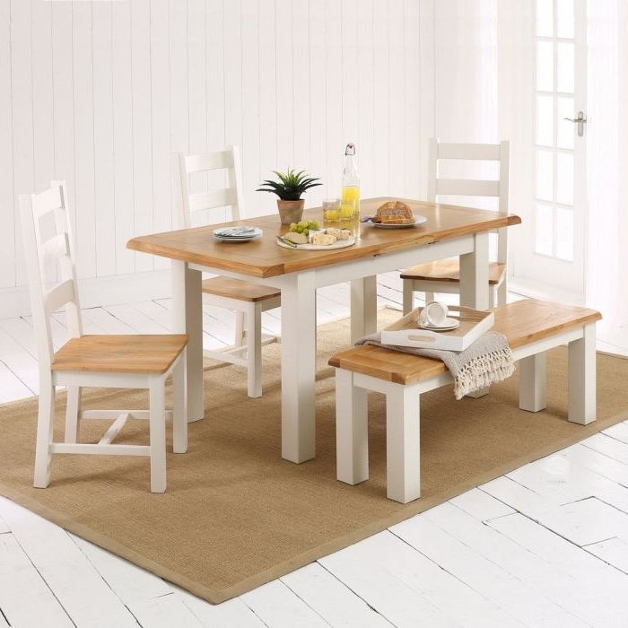 Current Cotswold Cream Painted Small Dining Table + 3 Chairs + 1 Bench (View 10 of 20)