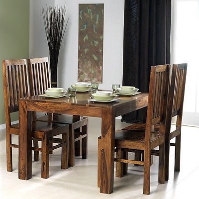 Current Cuba Solid Sheesham Chunky Wood Square Fixed Dining Table With 4 Within Sheesham Dining Tables And Chairs (View 9 of 20)