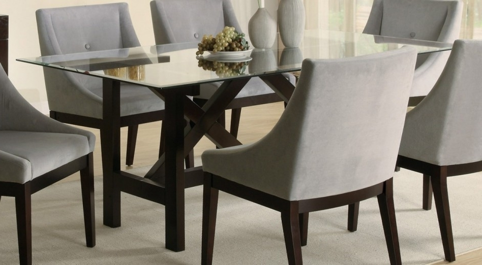 Current Dining Table: Handsome Small Dining Room Decoration Using Light Grey Intended For Glass Dining Tables With Wooden Legs (View 18 of 20)