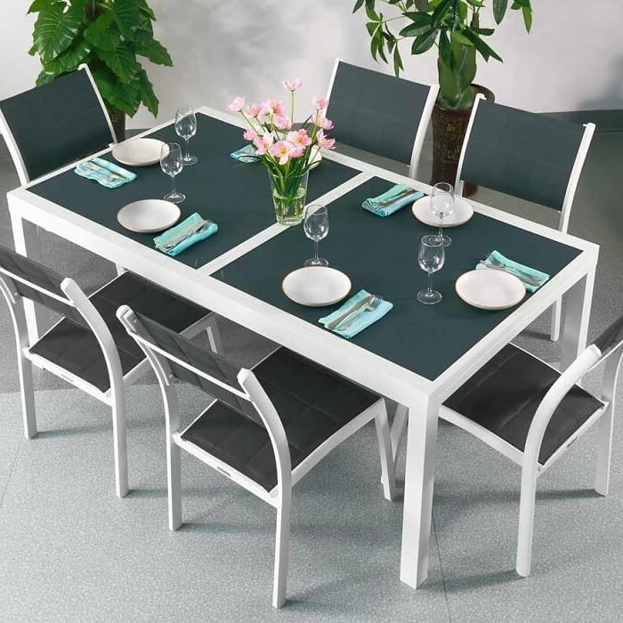 Current Dining Table Set Florence White & Grey – 8 Person Aluminium & Glass Pertaining To Extended Dining Tables And Chairs (View 4 of 20)