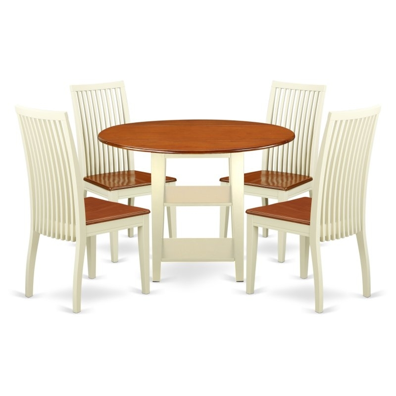 Current East West Furniture Sudbury 5 Piece Round Extending Dining Table Set With Regard To Chandler 7 Piece Extension Dining Sets With Wood Side Chairs (View 7 of 20)