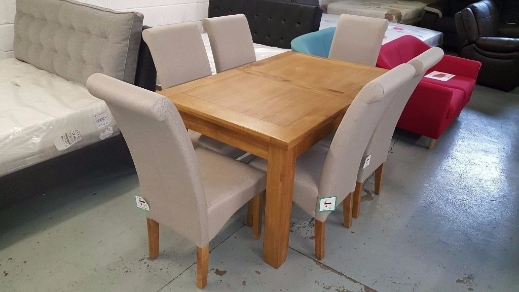 Current Ex Display Julian Bowen Astoria Extending Oak Dining Table & 6 Rio Throughout Rio Dining Tables (Gallery 13 of 20)