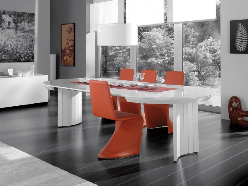 Current Extending Contemporary White High Gloss Dining Table Intended For Black Gloss Dining Room Furniture (View 5 of 20)
